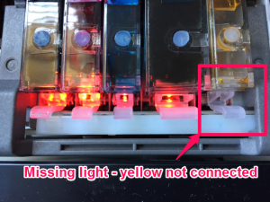 missing light - yellow not connected