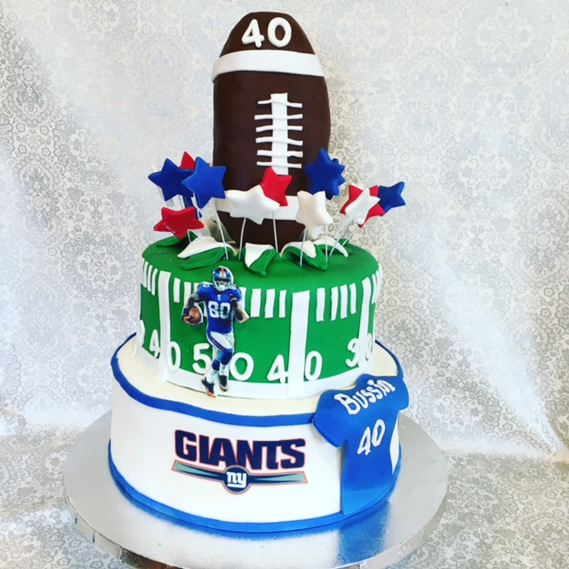 Brightly colored American Football Cake
